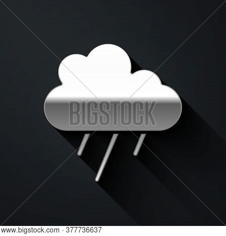 Silver Cloud With Rain Icon Isolated On Black Background. Rain Cloud Precipitation With Rain Drops.