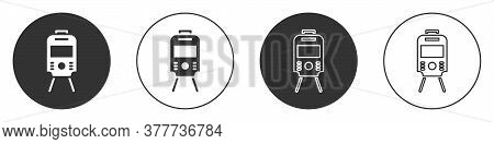 Black Tram And Railway Icon Isolated On White Background. Public Transportation Symbol. Circle Butto