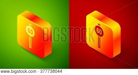 Isometric Speed Limit Traffic Sign 60 Km Icon Isolated On Green And Red Background. Square Button. V