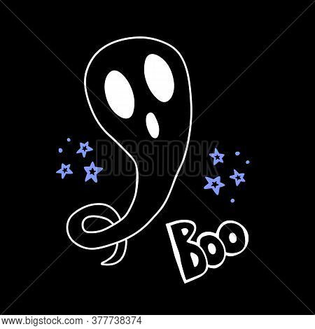 Halloween Doodle Ghost. Spooky And Fun Hand Drawn Icon Elements For Halloween Decorations And Sticke