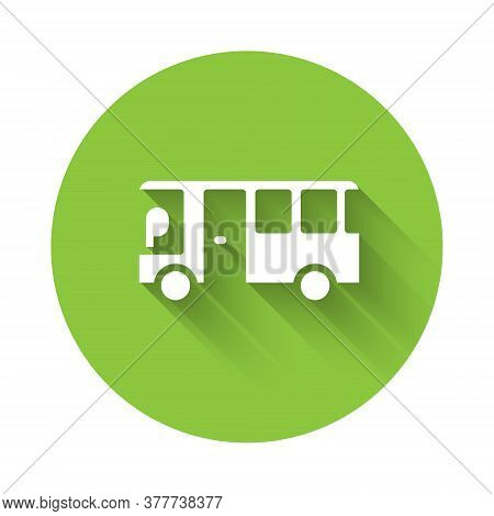 White Bus Icon Isolated With Long Shadow. Transportation Concept. Bus Tour Transport Sign. Tourism O