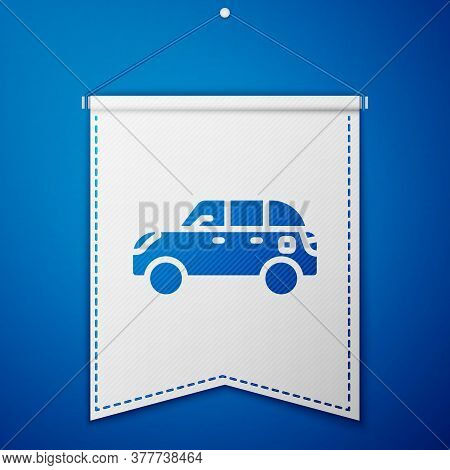 Blue Hatchback Car Icon Isolated On Blue Background. White Pennant Template. Vector