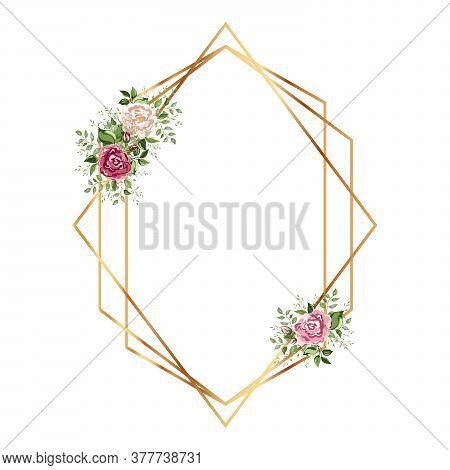 Geometrical Polyhedron With Flower. Floral Botanical Flower. Gold Frame