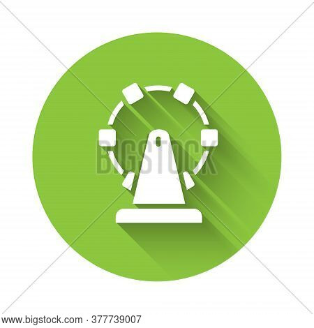 White Ferris Wheel Icon Isolated With Long Shadow. Amusement Park. Childrens Entertainment Playgroun