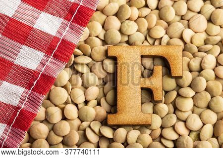 Letter F, Lentils With Checkered Napkin - Lens Culinaris