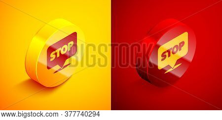 Isometric Protest Icon Isolated On Orange And Red Background. Meeting, Protester, Picket, Speech, Ba
