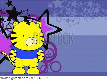 Kawaii Plush Tiger Cartoon Background In Vector Format