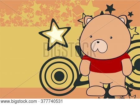 Kawaii Plush Teddy Bear Cartoon Background In Vector Format