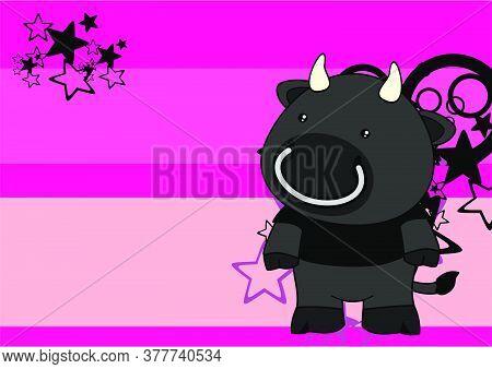 Kawaii Plush Black Bull Cartoon Background In Vector Format
