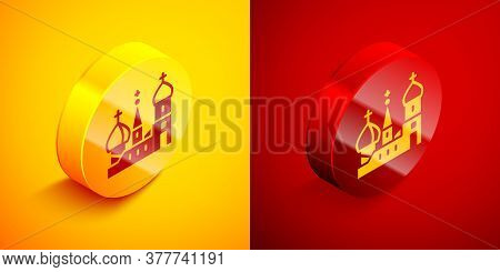Isometric Moscow Symbol - Saint Basils Cathedral, Russia Icon Isolated On Orange And Red Background.
