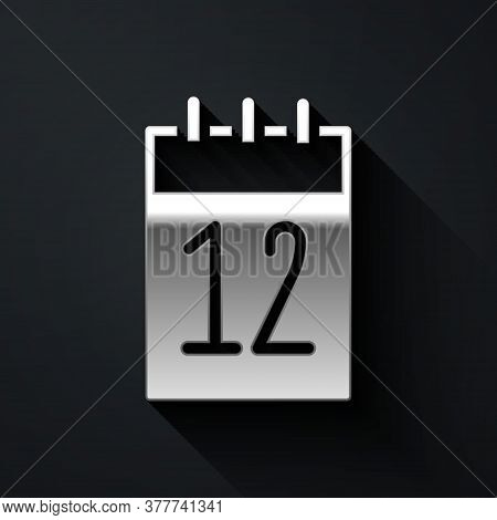 Silver Calendar 12 June Icon Isolated On Black Background. Russian Language 12 June Happy Russia Day