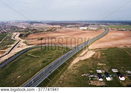 High Speed Motorway, Road, Roadway. Aerial View.