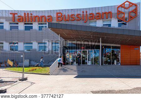 Tallinn, Estonia, 20 July 2020 Tallinn Bus Station Building. High Quality Photo