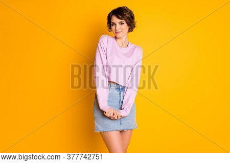 Portrait Of Shy Attractive Girlish Lady Have Rest Relax Feel Modest Meet Cute Guy Wear Pullover Isol