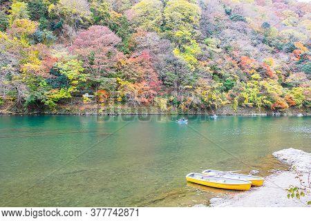 Colorful Leaves Mountains And Katsura River In Arashiyama, Landscape Landmark And Popular For Touris