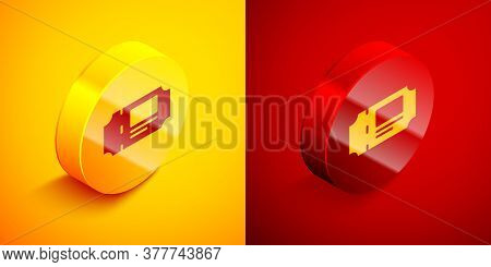 Isometric Museum Ticket Icon Isolated On Orange And Red Background. History Museum Ticket Coupon Eve