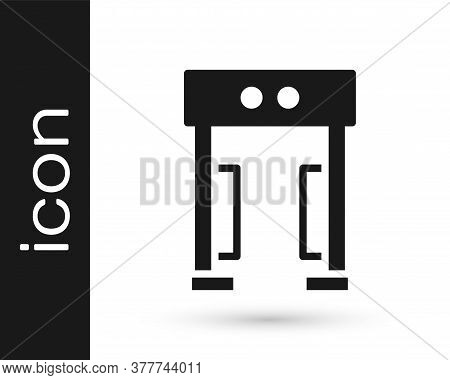 Black Metal Detector Icon Isolated On White Background. Airport Security Guard On Metal Detector Che