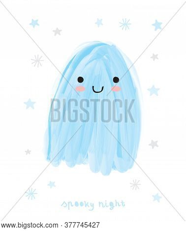 Happy Halloween. Spooky Night. Funny Hand Drawn Halloween Vector Illustration With Sweet Blue Ghost