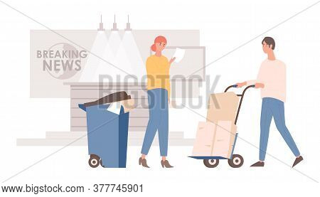 Breaking News Stage Vector Flat Illustration. Television Company Worker, Announcer Reading Breaking