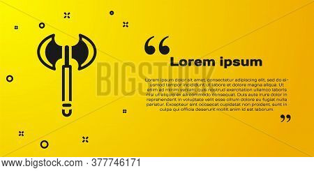 Black Medieval Axe Icon Isolated On Yellow Background. Battle Axe, Executioner Axe. Medieval Weapon.