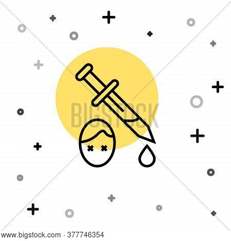 Black Line Sword With Blood Icon Isolated On White Background. Medieval Weapons Knight And Soldier.