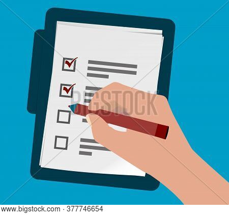Above View Of Person Ticking Off Check List Or Questionnaire With Pen Vector Illustration