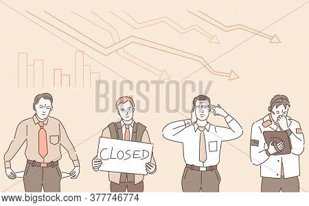 Economic Crisis Vector Cartoon Outline Illustration. Sad Man Holding Sign That Say Closed, And Man W