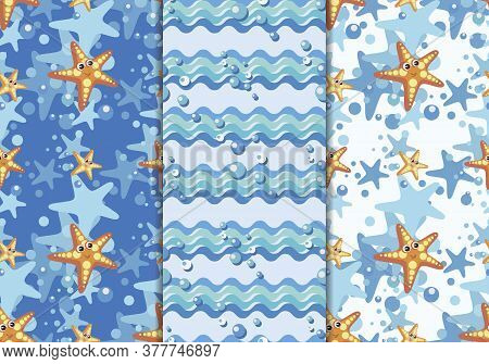 Sea Horse, Starfish Cartoon. Vector Pattern With Silhouette Seahorse And Air Bubbles.