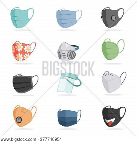 Vector Set Of Breathing Protective Respiratory Masks Isolated On White Background. Face Air Pollutio