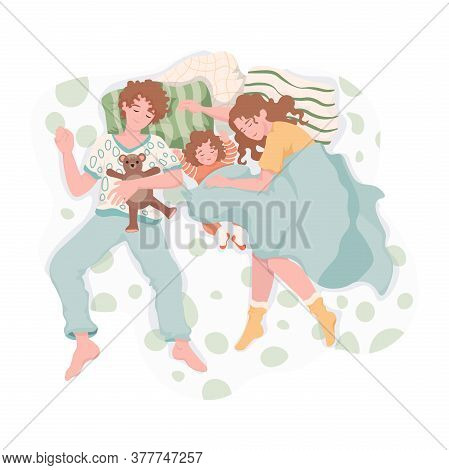 Family Resting And Hugging Each Other At Night. Mother, Father, And Daughter Sleep Together On The B