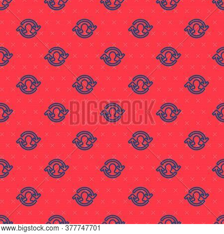 Blue Line Human Resources Icon Isolated Seamless Pattern On Red Background. Concept Of Human Resourc