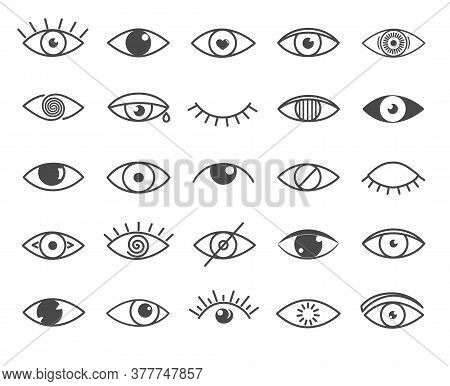 Set Of Black And White Outline Eye Icons. Open And Closed Eyes Images, Sleeping Eye Shapes With Eyel