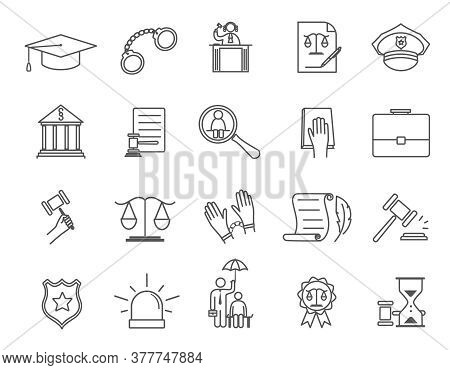 Large Set Of Line Drawn Black And White Vector Icons For Law Enforcement, Courtroom, Punishment And