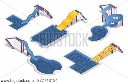 Isometric Set Of Water Slides With Pools. For Hotels, Water Parks, Villas And Aqua Water Parks. 3d C