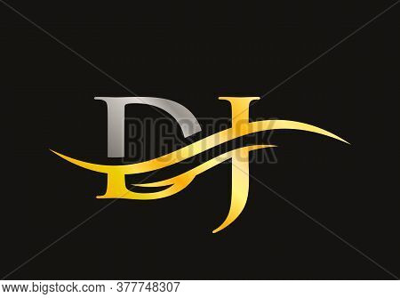 Initial Dj Logo Design Gold Swoosh. Vector Dj Logo For Business And Company Identity