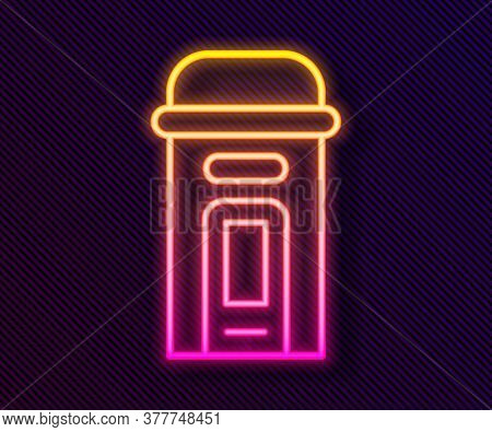 Glowing Neon Line London Phone Booth Icon Isolated On Black Background. Classic English Booth Phone