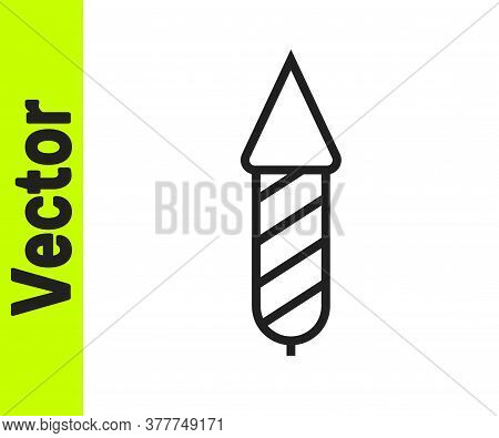 Black Line Firework Rocket Icon Isolated On White Background. Concept Of Fun Party. Explosive Pyrote