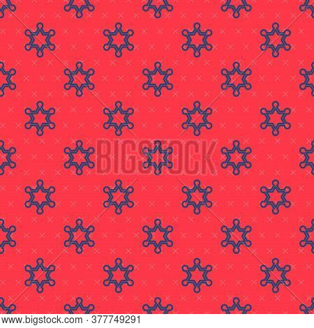Blue Line Hexagram Sheriff Icon Isolated Seamless Pattern On Red Background. Police Badge Icon. Vect