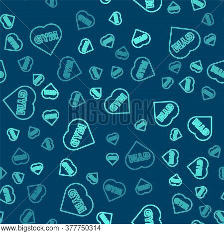 Green Line Fitness Gym Heart Icon Isolated Seamless Pattern On Blue Background. I Love Fitness. Vect