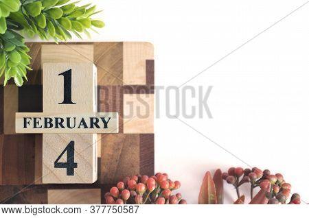 February 14, Cover Calendar Design In Natural Concept.