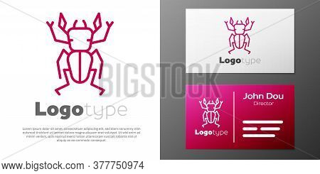 Logotype Line Beetle Deer Icon Isolated On White Background. Horned Beetle. Big Insect. Logo Design