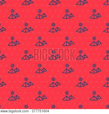 Blue Line Egypt Pyramids Icon Isolated Seamless Pattern On Red Background. Symbol Of Ancient Egypt.