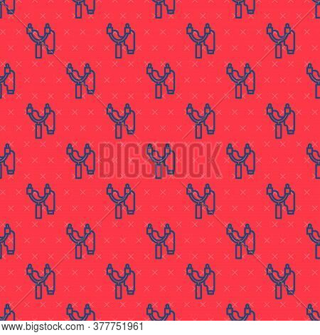 Blue Line Slingshot Icon Isolated Seamless Pattern On Red Background. Vector