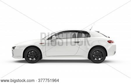 Generic Unbranded White Car, Sedan, Mockup, 3d Illustration