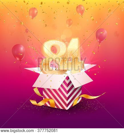 84th Years Anniversary Vector Design Element. Isolated Eighty-four Years Jubilee With Gift Box, Ball