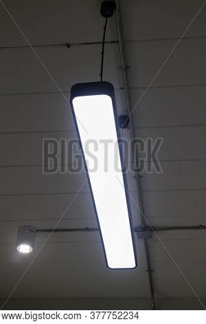 Fluorescent Lights Tube On Ceiling, Stock Photo