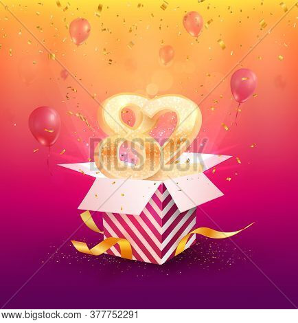 82nd Years Anniversary Vector Design Element. Isolated Eighty-two Years Jubilee With Gift Box, Ballo