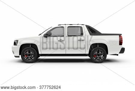 Lateral View Of A Generic Unbranded White Truck Car, Mockup, 3d Illustration