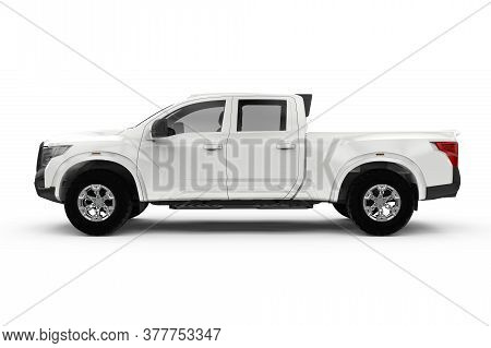 Lateral View Of A Generic Truck Car, Mockup, 3d Illustration