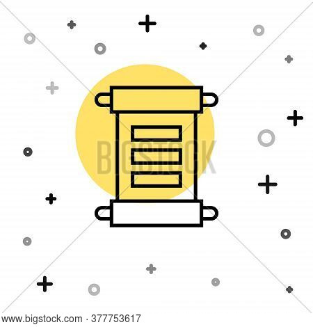 Black Line Decree, Paper, Parchment, Scroll Icon Icon Isolated On White Background. Random Dynamic S